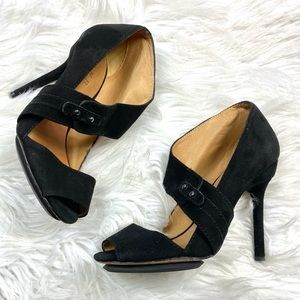 L.A.M.B Suede Peep Toe Pumps High Heels 7 M